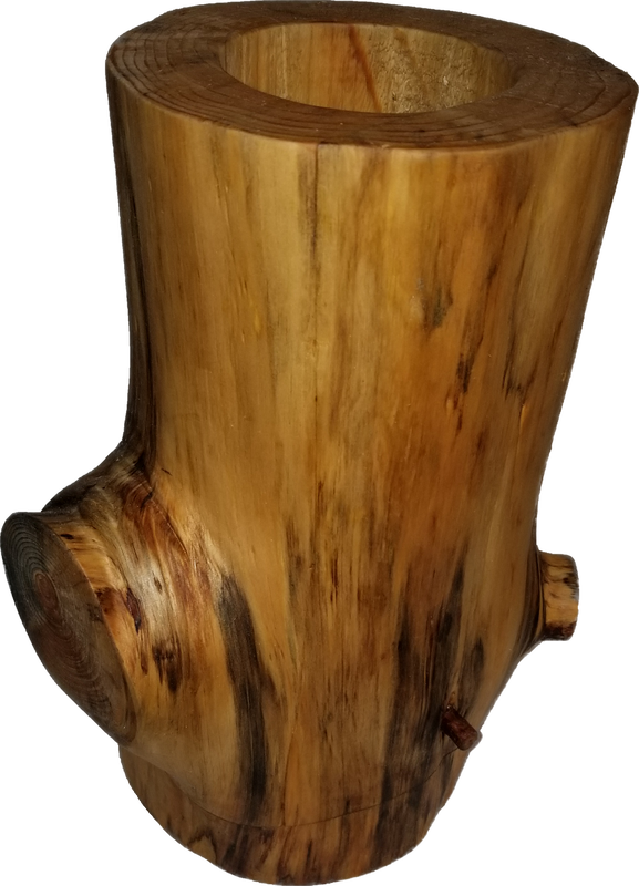 weathered pine log vase