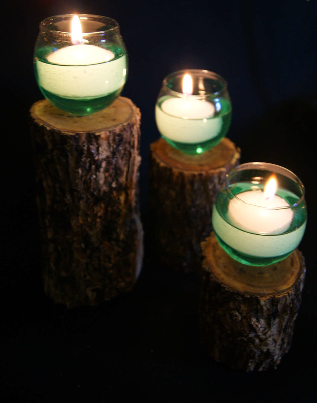 Log Candle Holder With Glass Inserts