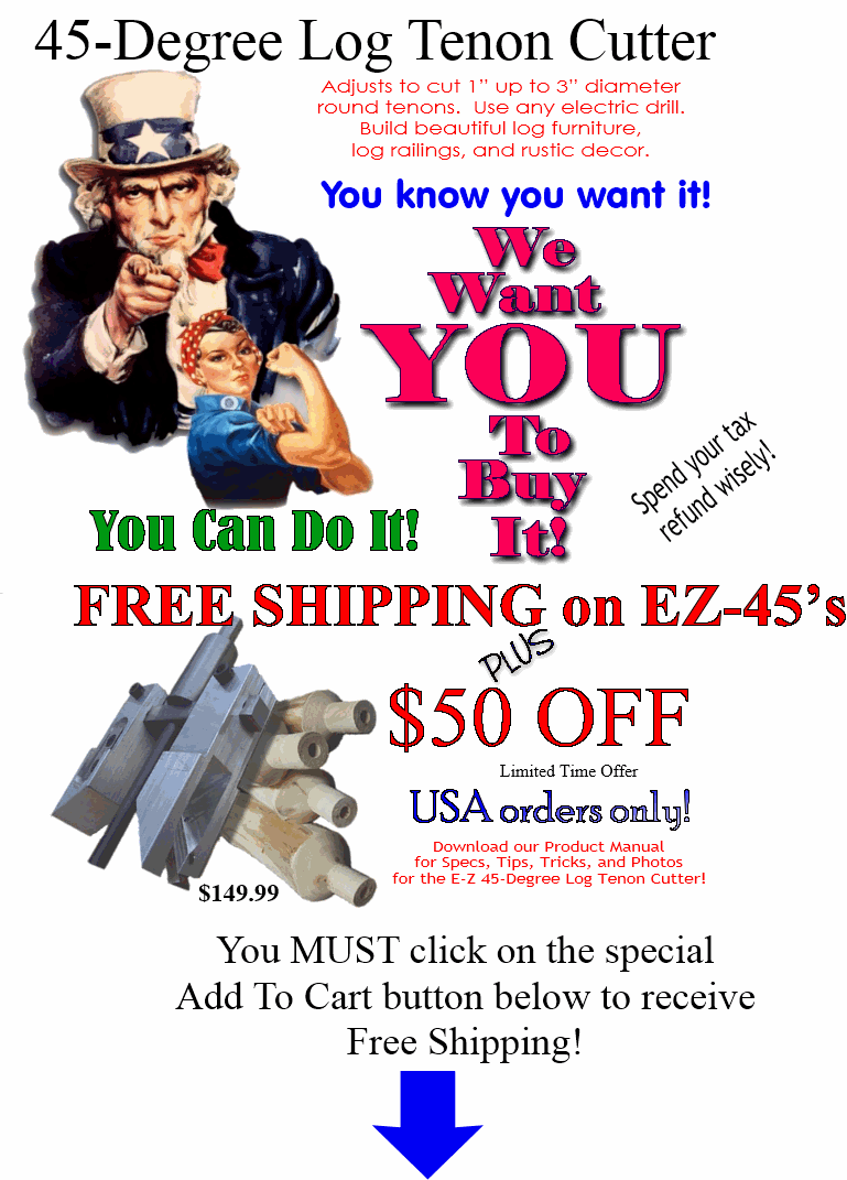 Free Shipping On Adjustable EZ Log Tenon Cutter